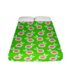 Square Flowers Green Fitted Sheet (full/ Double Size)