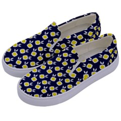 Square Flowers Navy Blue Kids  Canvas Slip Ons by snowwhitegirl