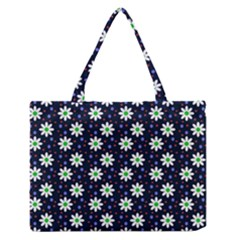 Daisy Dots Navy Blue Zipper Medium Tote Bag by snowwhitegirl
