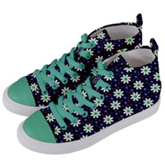 Daisy Dots Navy Blue Women s Mid Top Canvas Sneakers by snowwhitegirl
