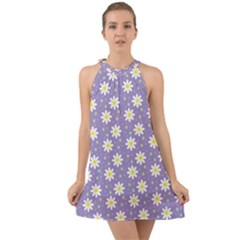 Daisy Dots Violet Halter Tie Back Chiffon Dress by snowwhitegirl