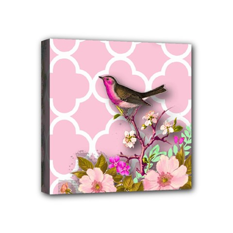 Shabby Chic,floral,bird,pink,collage Mini Canvas 4  X 4