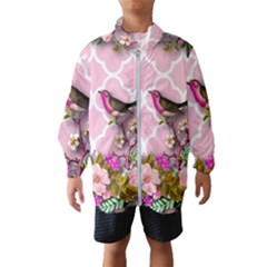 Shabby Chic,floral,bird,pink,collage Wind Breaker (kids) by 8fugoso