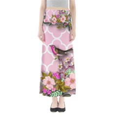 Shabby Chic,floral,bird,pink,collage Full Length Maxi Skirt by 8fugoso