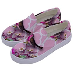 Shabby Chic,floral,bird,pink,collage Kids  Canvas Slip Ons by 8fugoso