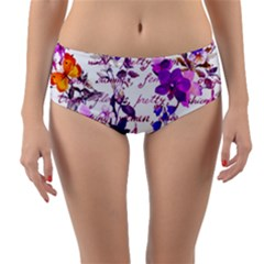 Ultra Violet,shabby Chic,flowers,floral,vintage,typography,beautiful Feminine,girly,pink,purple Reversible Mid Waist Bikini Bottoms by 8fugoso