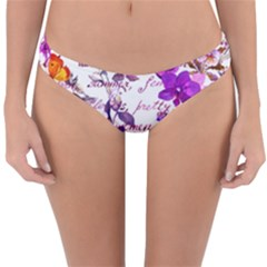 Ultra Violet,shabby Chic,flowers,floral,vintage,typography,beautiful Feminine,girly,pink,purple Reversible Hipster Bikini Bottoms by 8fugoso