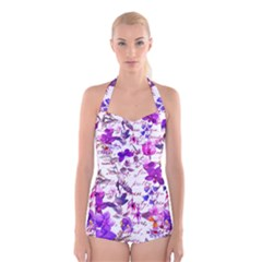 Ultra Violet,shabby Chic,flowers,floral,vintage,typography,beautiful Feminine,girly,pink,purple Boyleg Halter Swimsuit  by 8fugoso