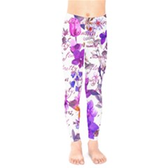 Ultra Violet,shabby Chic,flowers,floral,vintage,typography,beautiful Feminine,girly,pink,purple Kids  Legging by 8fugoso