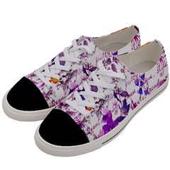Ultra Violet,shabby Chic,flowers,floral,vintage,typography,beautiful Feminine,girly,pink,purple Women s Low Top Canvas Sneakers by 8fugoso