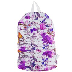 Ultra Violet,shabby Chic,flowers,floral,vintage,typography,beautiful Feminine,girly,pink,purple Foldable Lightweight Backpack by 8fugoso