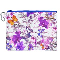 Ultra Violet,shabby Chic,flowers,floral,vintage,typography,beautiful Feminine,girly,pink,purple Canvas Cosmetic Bag (xxl) by 8fugoso