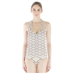 Gold,white,art Deco,vintage,shell Pattern,asian Pattern,elegant,chic,beautiful Halter Swimsuit by 8fugoso
