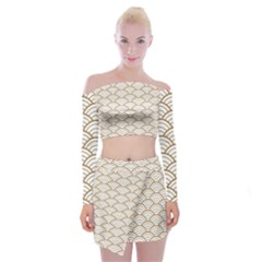 Gold,white,art Deco,vintage,shell Pattern,asian Pattern,elegant,chic,beautiful Off Shoulder Top With Mini Skirt Set by 8fugoso