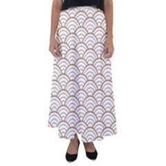 Gold,white,art Deco,vintage,shell Pattern,asian Pattern,elegant,chic,beautiful Flared Maxi Skirt by 8fugoso