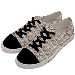 Gold,white,art Deco,vintage,shell Pattern,asian Pattern,elegant,chic,beautiful Men s Low Top Canvas Sneakers by 8fugoso