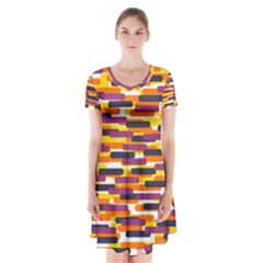 Fast Capsules 4 Short Sleeve V Neck Flare Dress by jumpercat