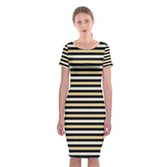 Black And Gold Stripes Classic Short Sleeve Midi Dress