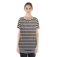 Black And Gold Stripes Skirt Hem Sports Top