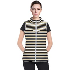 Black And Gold Stripes Women s Puffer Vest