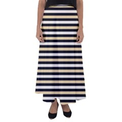 Black And Gold Stripes Flared Maxi Skirt