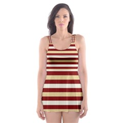 Gold And Wine Skater Dress Swimsuit
