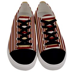 Gold And Wine Men s Low Top Canvas Sneakers