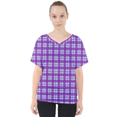 Purple Tartan V-neck Dolman Drape Top