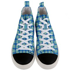 Sea Tartan Men s Mid Top Canvas Sneakers