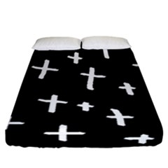 White Cross Fitted Sheet (california King Size) by snowwhitegirl