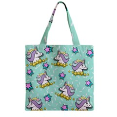 Magical Happy Unicorn And Stars Grocery Tote Bag by allthingseveryday