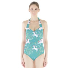 Magical Flying Unicorn Pattern Halter Swimsuit by allthingseveryday