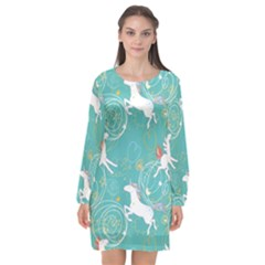 Magical Flying Unicorn Pattern Long Sleeve Chiffon Shift Dress  by allthingseveryday