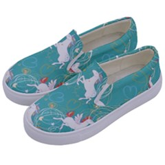 Magical Flying Unicorn Pattern Kids  Canvas Slip Ons by allthingseveryday