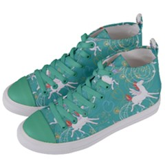 Magical Flying Unicorn Pattern Women s Mid Top Canvas Sneakers by allthingseveryday