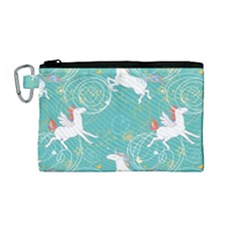 Magical Flying Unicorn Pattern Canvas Cosmetic Bag (medium) by allthingseveryday