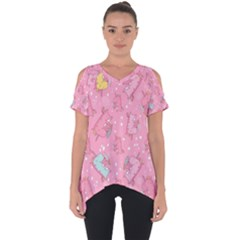 Unicorns Eating Ice Cream Pattern Cut Out Side Drop Tee