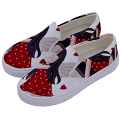 Cupid Girl Kids  Canvas Slip Ons by Valentinaart