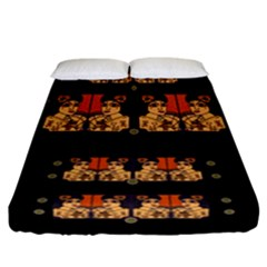 Geisha With Friends In Lotus Garden Having A Calm Evening Fitted Sheet (california King Size) by pepitasart
