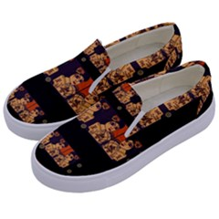 Geisha With Friends In Lotus Garden Having A Calm Evening Kids  Canvas Slip Ons by pepitasart