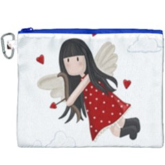 Cupid Girl Canvas Cosmetic Bag (xxxl) by Valentinaart