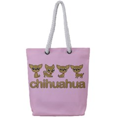 Chihuahua Full Print Rope Handle Tote (small) by Valentinaart
