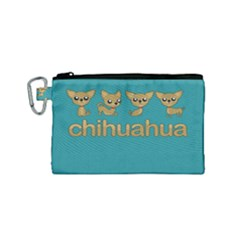 Chihuahua Canvas Cosmetic Bag (small) by Valentinaart
