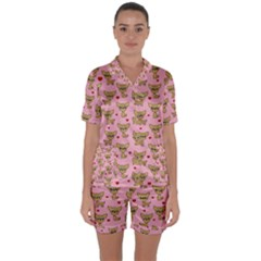 Chihuahua Pattern Satin Short Sleeve Pyjamas Set by Valentinaart