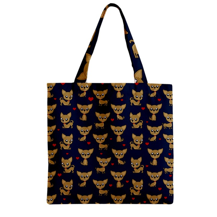Chihuahua pattern Zipper Grocery Tote Bag
