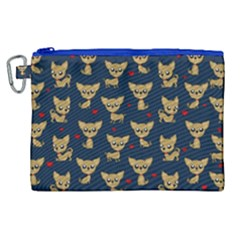 Chihuahua Pattern Canvas Cosmetic Bag (xl) by Valentinaart