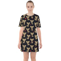 Chihuahua Pattern Sixties Short Sleeve Mini Dress