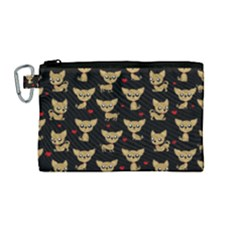 Chihuahua Pattern Canvas Cosmetic Bag (medium) by Valentinaart