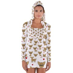 Chihuahua Pattern Long Sleeve Hooded T Shirt