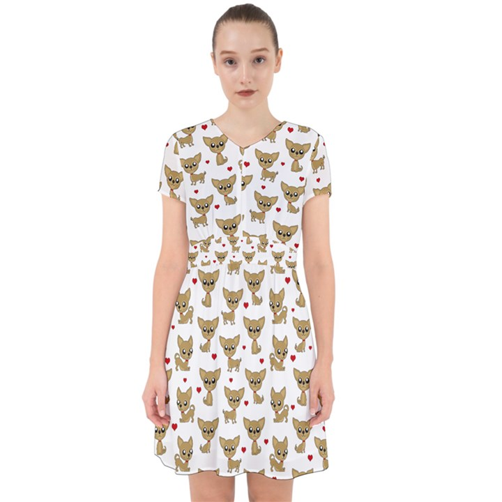 Chihuahua pattern Adorable in Chiffon Dress